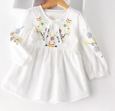 Cheap shirt kids, Buy Quality girls cotton blouses directly from China girls blouse Suppliers: Autumn Cotton Denim dress Little Girls floral dress vintage embroidery flower dresses Toddler Clothing For Party Toddler Girl Style, Toddler Girl Dresses, Toddler Fashion, Toddler Outfits, Kids Outfits, Kids Fashion, Toddler Girls, Fall Outfits, Fashion 2016