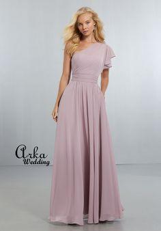 164f6bbfa985 Φόρεμα Βραδινό Chiffon με έναν Ώμο. Κωδ. 21554