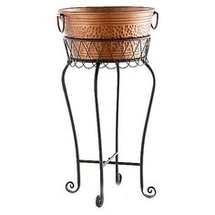 Super bonus buy Garden Grove party tub and stand order $55 and get this for $19.75 Generously sized metal party tub has a hammered copper finish and a prestige metal stand tub 15x71/2 stand 131/4x 251/4 http://www.celebratinghome.com/sites/52646159 to order