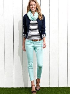 I love the mix of these colors (mint jeans and scarf with the stripes. I also saw another example of a striped shirt with a light orange pink that was super cute. I would need length to the shirt to hide the back with a skinnier jean