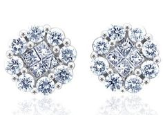 1.00 carat Cluster Diamond Stud Earrings in 14k White Gold (GH, I1-I2)