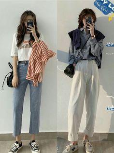 Korean Girl Fashion, Korean Street Fashion, Ulzzang Fashion, Korea Fashion, Teen Fashion Outfits, 80s Fashion, Modest Fashion, Cool Outfits, Casual Outfits