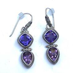 Sterling Jewelry, Sterling Silver, Dangle Earrings, Pendant Necklace, Vintage Jewelry, Amethyst, Stone, Purple, Ebay