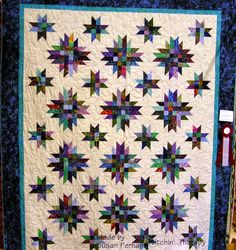 Quilt Show 2014  this is Disco Snowflakes.  Big, bold, and all batiks.  The star block does look like it is dancing!