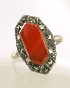 Art Deco Sterling Silver and Carnelian Ring Use by worn2perfection, $150.00