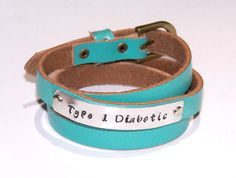 Medical Alert Leather Bracelet - Hand Stamped - You Customize - Wording of Your Choice - Allergies Bracelet - Special Needs - Diabetic