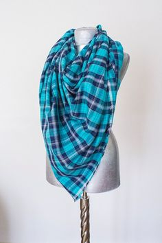 Scarf - Handmade Plaid Blanket Scarf - Cotton - Turquoise Navy Blue White - Winter Autumn Scarf - Men Women Unisex XXL Scarf