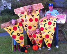 Pizza Costume!! 1/2 inch foam cut into triangles and folded over for the crust, yellow/gold spray paint for cheese and light brown for the crust, felt cut-outs for your choice of toppings!! I added extra detail to each topping to give it some depth.It was a total hit!! I outlined each individual topping with black puffy paint to help the toppings pop.