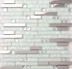 strip silver stainless steel mixed clear glass mosaic tiles for kitchen backsplash bathroom wall shower tiles - Glas Backsplash Fliesen Ideen