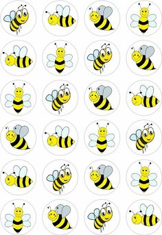 The toppers are printed on edible wafer paper with edible inks. Wafer Paper, Paper Cupcake, Bumble Bee Cupcakes, Bee Coloring Pages, Holiday Program, Kids Math Worksheets, Bee Cards, Cute Bee, Toddler Learning Activities