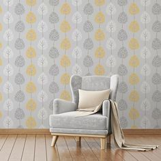 The wallpaper features a fun, tree design on a shimmering metallic background and will brighten a living room, bedroom or elsewhere. In a contemporary grey colour scheme with yellow accents, the Fine Decor Tree Grey/Yellow Wallpaper is a great choice. Living Room Grey, Interior Design Living Room, Living Room Designs, Living Room Decor, Living Rooms, Grey Yellow, Yellow Accents, Mustard Yellow, Teal Blue
