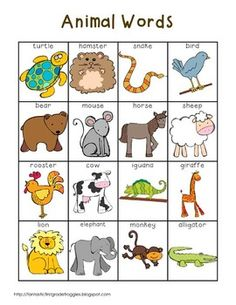 Writing Center Tools- Animal Words