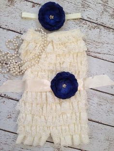 Ivory Lace Romper/ NavyBlue sash/ Yellow Sash/ Mint Sash/