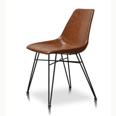Mid Century Leather Dining Chair Saddle Blackened Brass