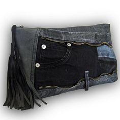 Reciclado de viejos Jeans Patchwork bolso de embrague / bolso de Jeans - Denim negro bolsa