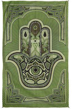 Zest For Life Hamsa Hand Tapestry Green or Brown Trippy Store, Hamsa Tattoo Design, Green Cove Springs, Hippie Party, Tribal Decor, Hand Of Fatima, Unique Wall Art, Hamsa Hand, Mehndi Designs