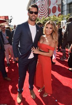 Looking great: Eric Decker and recording artist wife Jessie James Decker made their way down the red carpet together