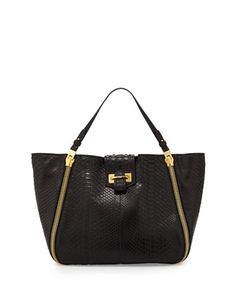 Sedgwick Medium Python Zip Tote Bag, Black by TOM FORD at Neiman Marcus.