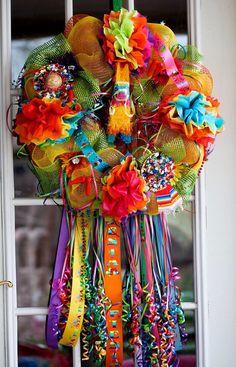 28 Large Bright & Colorful Fiesta Deco Mesh by VirgiesTreasures, $75.00