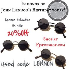 """John Lennon would've been 75years old today...so in honor of his birthday we are having a sale on the """"Lennon Collection."""" Today only for kids, big kids, and adults...they are all 20% off, just use code: LENNON at check out for discount on your sunglasses! To find them simply click link in bio, scroll below and the items are featured for today!  Enjoy . #lennon #sunglasses #johnlennon #kidsfashion #peace #music #ootd"""