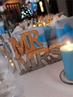 Rustic Mr & Mrs head table décor