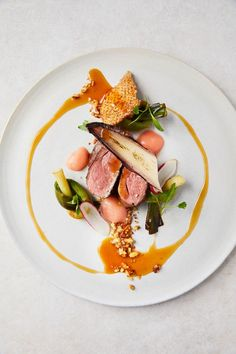 Duck breast with rhubarb purée & walnut granola – Rezepte Gourmet Recipes, Gourmet Desserts, Plated Desserts, Food Plating Techniques, Chef Cookbook, Great British Chefs, Pub Food, Molecular Gastronomy, Food Design