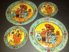 Set of Four Vintage Oriental Lithograph Tin Plates - Ohio Art Co.  #OhioArt