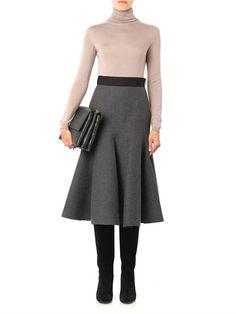 Lanvin Ribbed wool-blend midi skirt