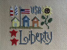 completed cross stitch Lizzie Kate Liberty 4th of July