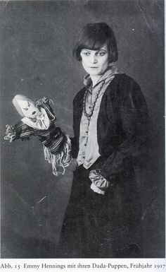 Emmy Hennings with Dada-doll, 1917  Photo from Hans Richter, Dada and Anti-Art, (Thames and Hudson, 1965