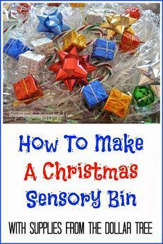 Christmas Sensory Bin-easy diy from the dollar tree