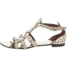 Pre-owned Giuseppe Zanotti Python Sandals ($145) ❤ liked on Polyvore featuring shoes, sandals, grey, snake print shoes, grey sandals, snakeskin sandals, stacked heel shoes and buckle sandals