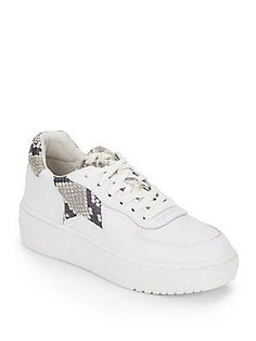 Ash Fool Snake-Print Trimmed Leather Platform Sneakers - White - Size