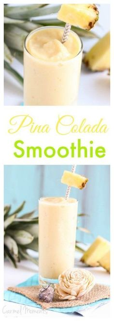 Pina Colada Smoothie -  Easy  5 minute smoothie. Delicious pineapple, juice, banana and coconut milk are combined for a refreshing cool drink.