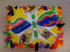 Art project- pattern butterflies- tissue paper pieces as the border.