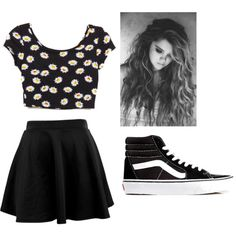 Daisy Crop Top with a black Skater skirt and some black hightop vans. exchange high tops with combat boots