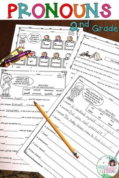 Pronoun activities and Literacy Centers for 2nd Grade! This 2nd Grade Pronouns resource consists of practice worksheets that target the Common Core standards for Pronouns in 2nd Grade, a 1st Grade Review, and 2 Games for your Literacy Center. Activities include: cut and paste, fill in the blanks, multiple choice, color, and write sentences.