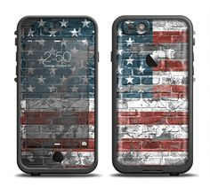 The Vintage USA Flag Apple iPhone 6/6s Plus LifeProof Fre Case Skin Set from DesignSkinz