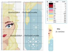 Cross Stitch Bookmarks, Cross Stitch Embroidery, Cross Stitch Patterns, Cross Stitches, Hama Beads Patterns, Beading Patterns, Elsa, Perler Bead Art, Beaded Animals