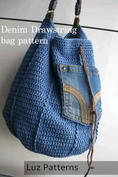 Crochet pattern, crochet bag pattern, upcycled denim drawstring, granny crochet bag pattern 276 Inst - Bags and Purses 👜 Crochet Shell Stitch, Crochet Motifs, Crochet Tote, Crochet Handbags, Crochet Purses, Bead Crochet, Crochet Shawl, Crochet Stitches, Crochet Hooks