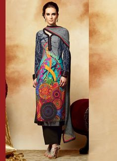 Glowing Printed Multicolor Pakistani Salwar Suit