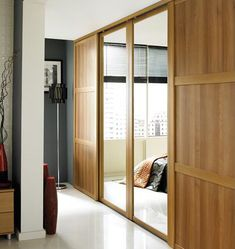 bu0026q mirrored sliding walltowall wardrobe door oak effect - Closet Doors Sliding