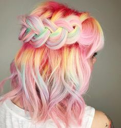 Looking for hair inspiration, color ideas such as mermaid hair, rainbow hair color, pastel hair color ideas you cant help but love how cute Hair Color For Dark Skin, Bold Hair Color, Color Blue, Pelo Multicolor, Unicorn Hair Color, Dye My Hair, Mermaid Hair, Mermaid Makeup, Crazy Hair