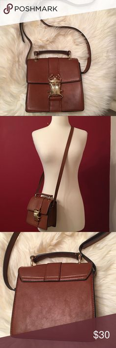 7808721896f9 Zara cross body bag Zara TRF beatle clasp cross body top handle bag.  Measurements: