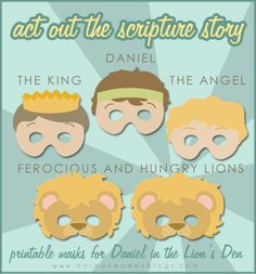 Act out Daniel and the Lions Den with printable masks