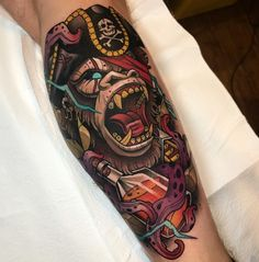 Image may contain: one or more people and closeup Cover Up Tattoos, Body Art Tattoos, Sleeve Tattoos, Traditional Tattoo Design, Neo Traditional Pirate Tattoo, Traditional Tattoos, Desenho New School, Gorilla Tattoo, Gorilla Ink