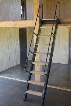 Project: Live-in Mezzanine Workshop: Ships ladder on rollers made with steel & wood, ply interior