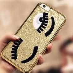 Coque 3D iPhone 5/5S Chiarra Ferragni or pailleté yeux bleus clin d oeil
