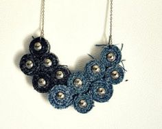 Recycled jeans Bib Necklace