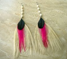 Bleached Peacock, African Gray Parrot and Magenta Rooster Feather Earrings with Freshwater Pearls